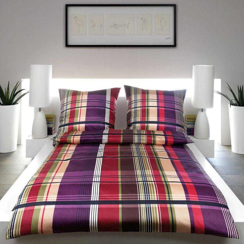 mako satin bettw sche estella lifestyle lucio aubergine karierte satinbettw sche ebay. Black Bedroom Furniture Sets. Home Design Ideas