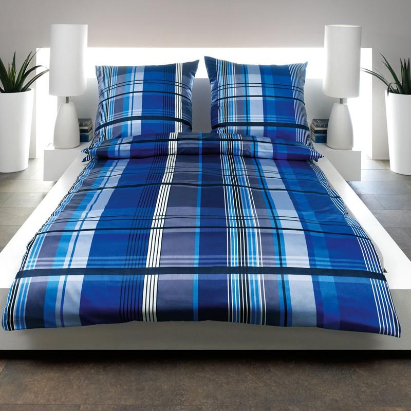 mako satin bettw sche estella lifestyle lucio royal blau kariert satinbettw sche ebay. Black Bedroom Furniture Sets. Home Design Ideas