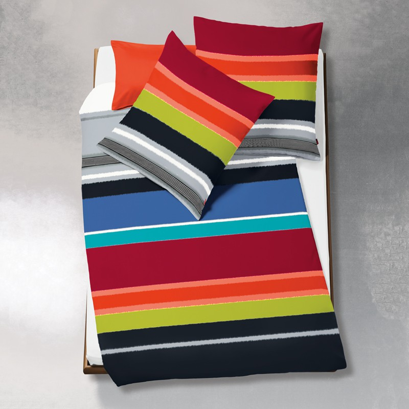 mako satin bettw sche fleuresse modern life amarena bunt gestreift 200 x 200 cm ebay. Black Bedroom Furniture Sets. Home Design Ideas