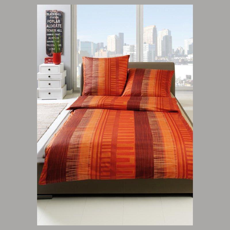 Interlock Jersey Bettwäsche Estella Domenico Magma Rot Orange