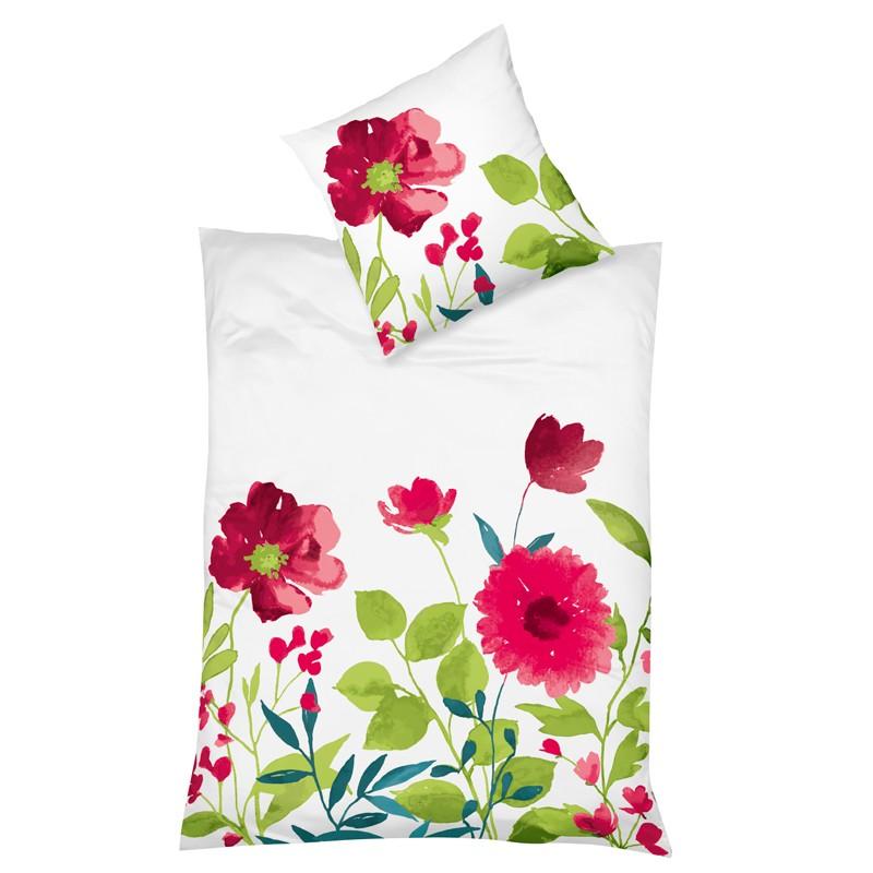 fleuresse mako satin bettw sche milano pink blumenwiese mit rotem klatschmoon ebay. Black Bedroom Furniture Sets. Home Design Ideas
