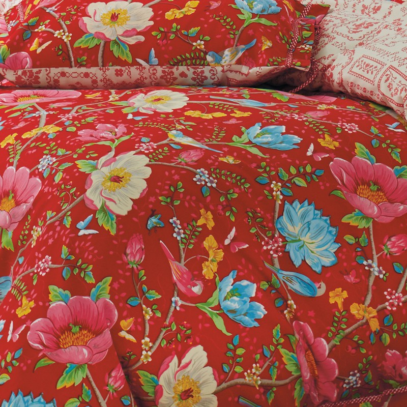 rote twill bettw sche pip studio chinese garden red mit sch nen blumenranken ebay. Black Bedroom Furniture Sets. Home Design Ideas