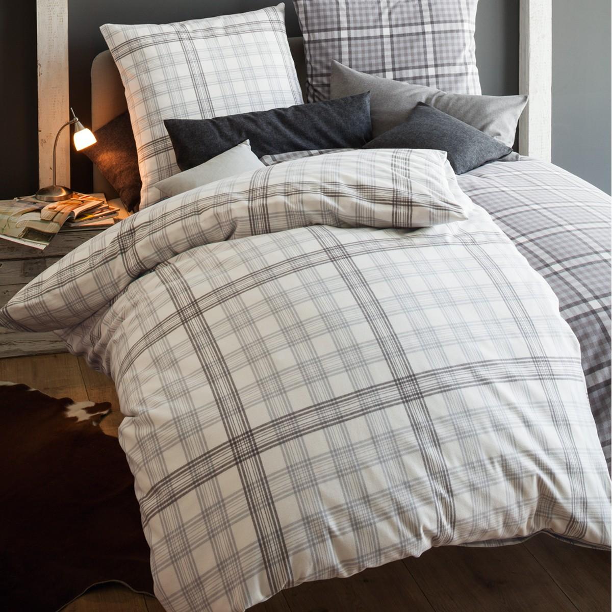 flanell bettw sche fleuresse lech silber kariert. Black Bedroom Furniture Sets. Home Design Ideas