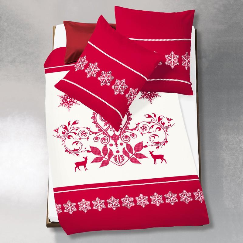 biberbettw sche fleuresse aspen rot ornament sterne 155 x 220 bettw sche twill biber. Black Bedroom Furniture Sets. Home Design Ideas